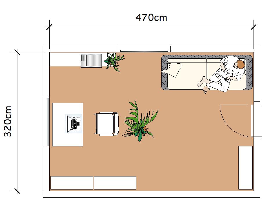 Anordnung der Möbel im Homeoffice