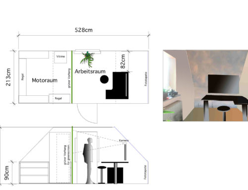 Entwurf für ein homeoffice unterm Dach